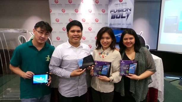 Cherry Mobile execs: Lonson Alejandrino (Product Manager, Smartphones), Miguel Bonifacio, Eunice Lodripas, and  Joanne Cuarenta (Marketing Manager)