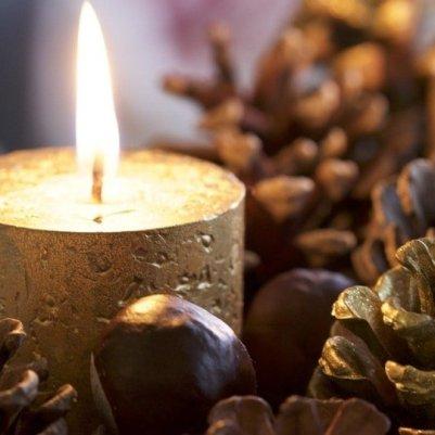 bougies dorées et fruits des bois