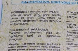 Entomaphagie - Ténébrions meuniers déshydratés et chocolat noir