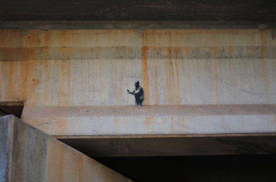 A tiny little graffiti under the bridge.