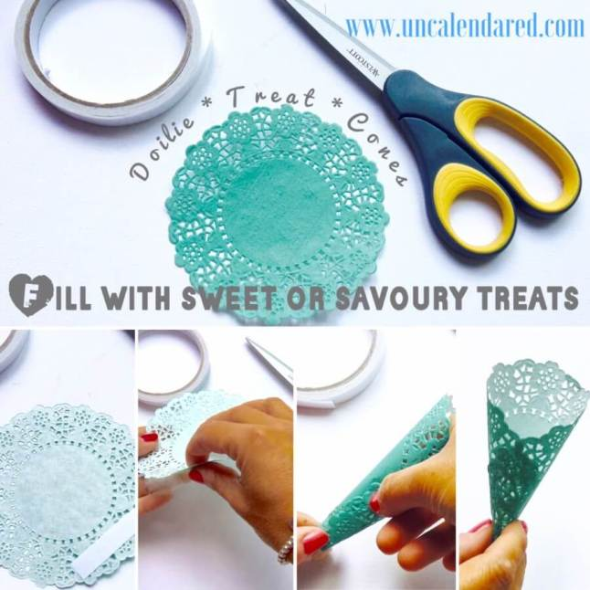 Doilies are perfect for creating cones to serve treats at your Afternoon Tea