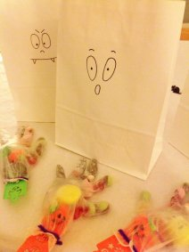 White paper bags make great Trick or Treat bags