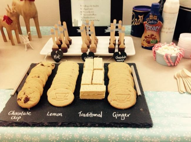 Hot chocolate bar with a selection of shortbread biscuits
