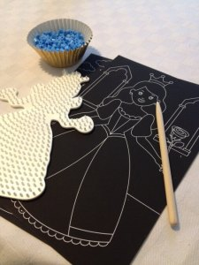 Cinderella themed tea, creative, crafty ideas for children. Foil art and hama beads princesses