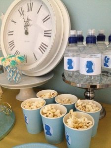 Cinderella themed tea party popcorn cups and water bottles