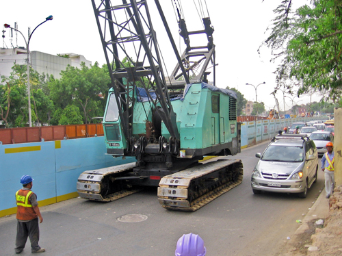 crane on road