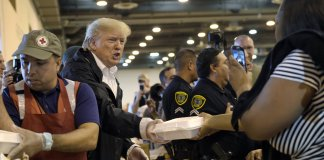Trump giving food to Hurricane Harvey victim