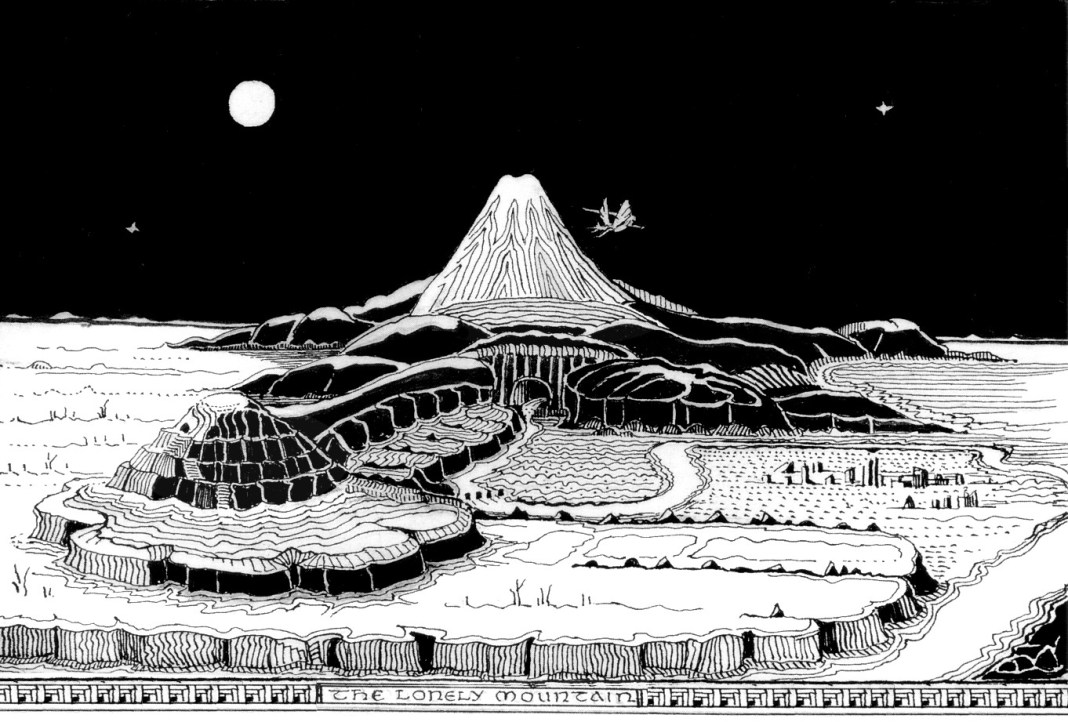 A drawing of the Lonely Mountain by J.R.R. Tolkien