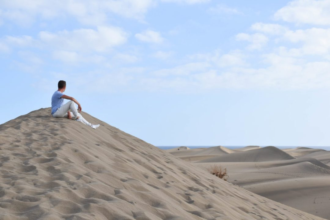 Sur les dunes de Maspalomas à Gran Canaria