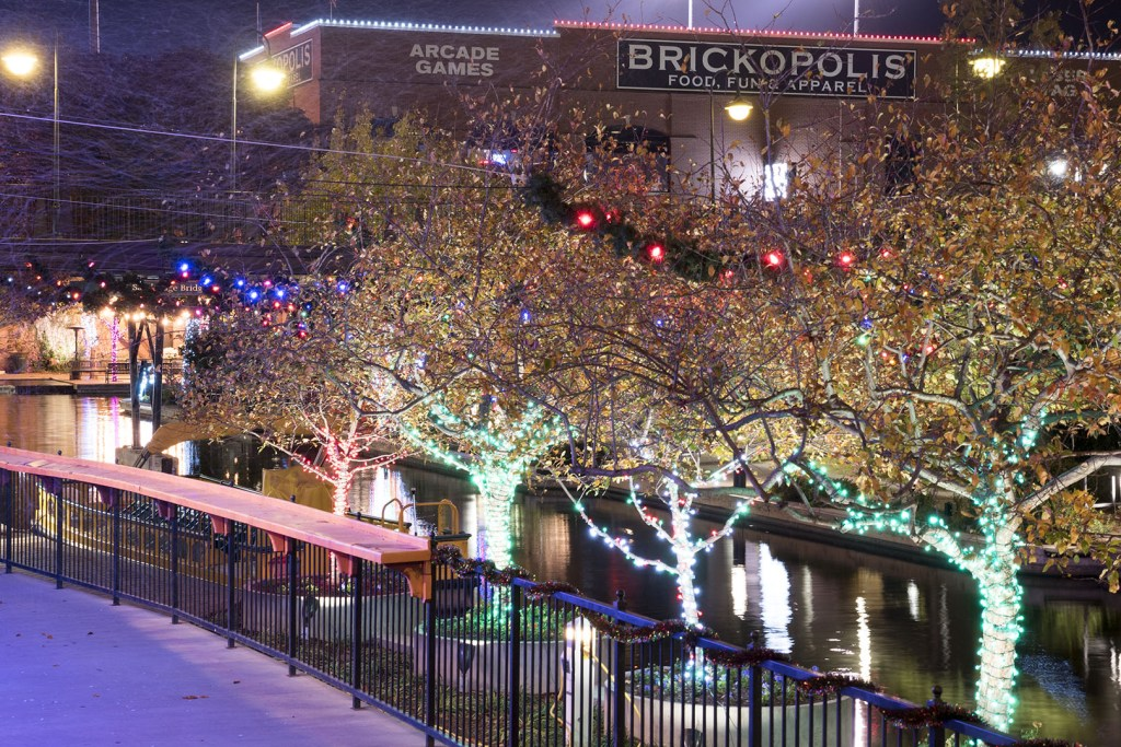Lights in Bricktown, Oklahoma City - photo by Dennis Spielman