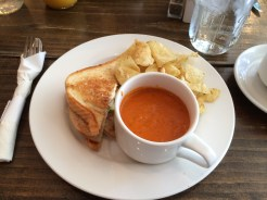 Sandwich and tomato soup at Syrup