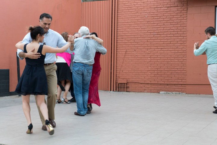 Dancing outside Everything Goes Dance Studio - photo by Dennis Spielman