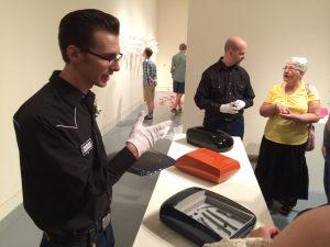 Artist at MAINSITE explains his art - photo by Dennis Spielman
