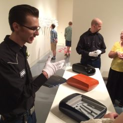 Artist at MAINSITE explains his art - photo by Dennis Spielman
