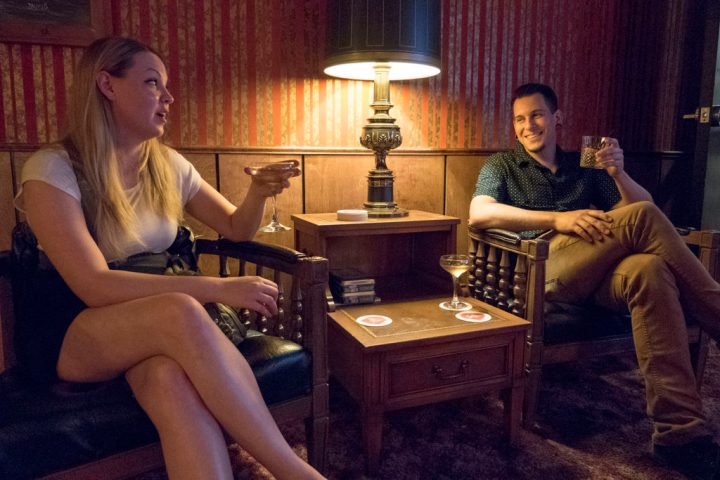 A couple enjoys pre-drinks at R&J Lounge's Dinner 4 Twelve - photo by Dennis Spielman