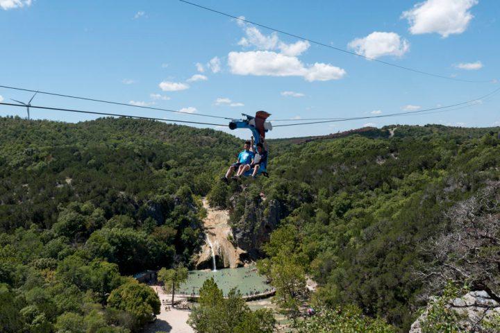 Guests enjoy the Turner Falls Zipline - photo by Dennis Spielman