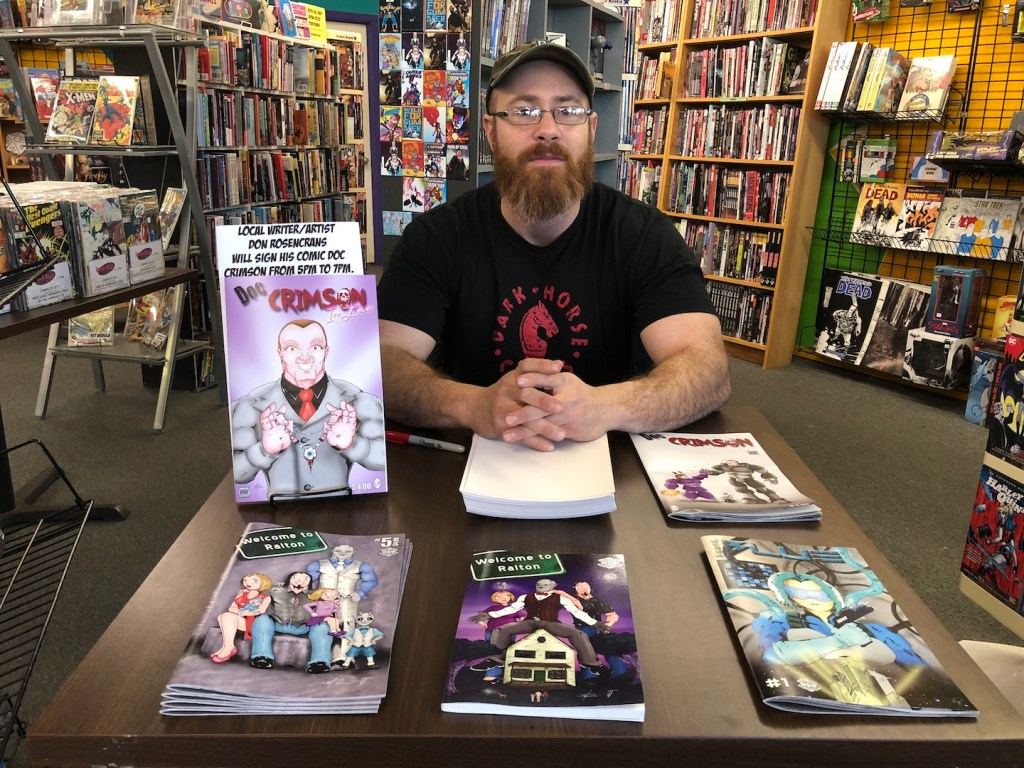 Don Rosencrans at Speeding Bullet Comics - photo by Dennis Spielman