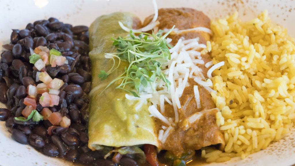 Vegan Enchiladas at OSO - photo by Dennis Spielman