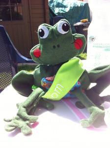 Der Frosch wohnt jetzt als Glücksbringer an Bord der Binom!