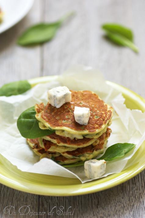 Pancakes epinards gorgonzola recette fritters