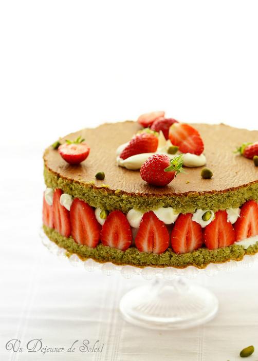 Gateau italien ricotta fraises pistaches fleur oranger sans gluten