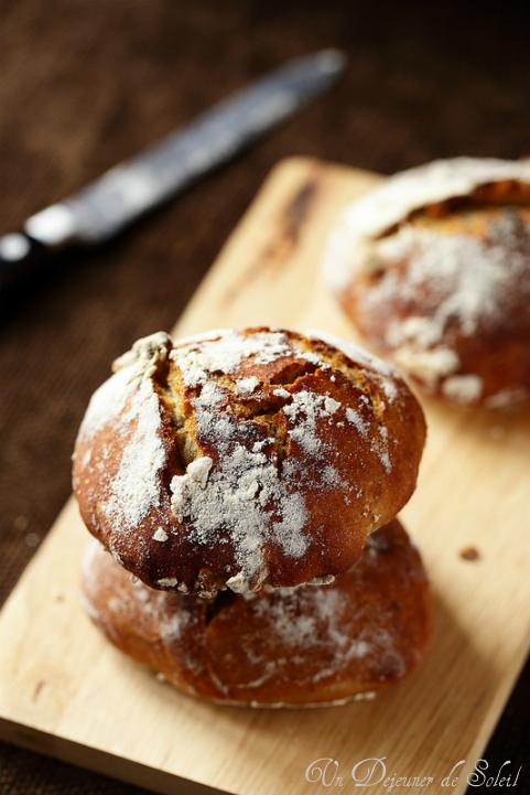pain sans petrissage farine complete qunoa noisettes