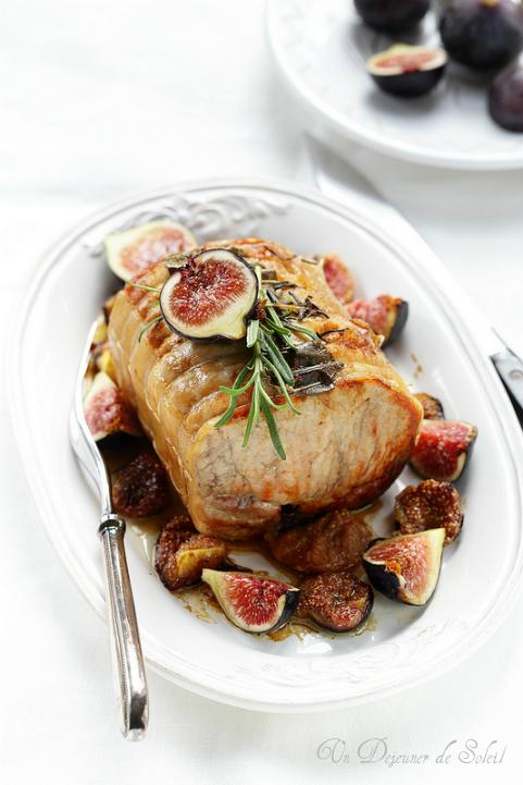 Rôti de porc aux figues et romarin