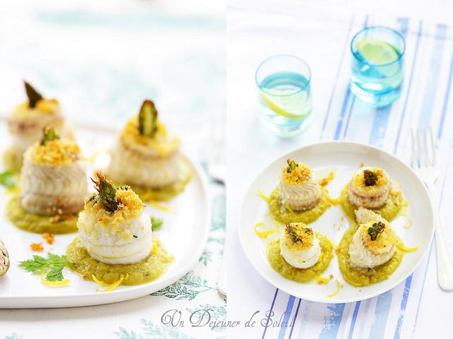 Roulés de sole panés, caviar d'asperges au citron