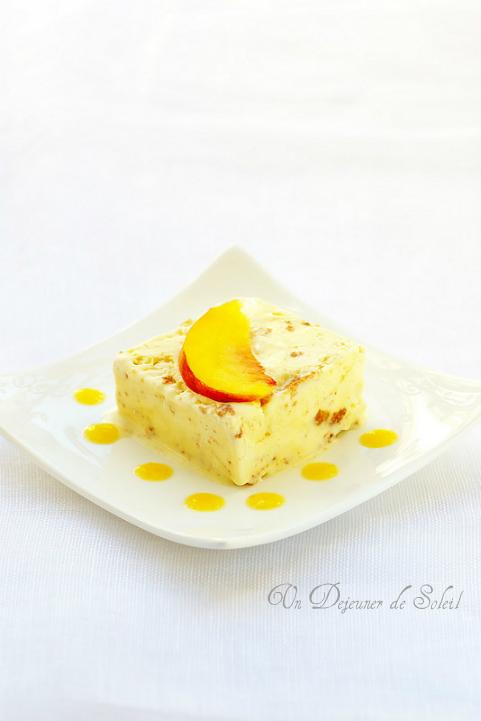 Semifreddo (parfait glacé) aux amaretti et coulis de pêches - Amaretti and peaches semifreddo