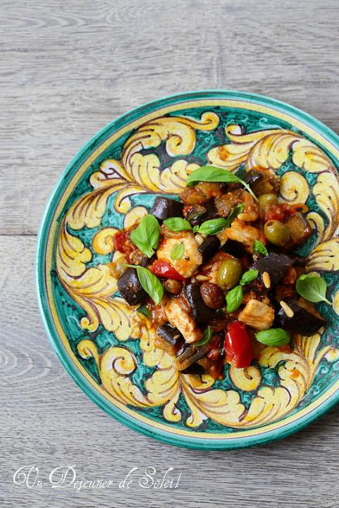 Salade de poulet en caponata sicilienne - Chicken salad with caponata