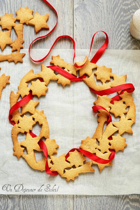 Couronne de Noël à base de biscuits spéculoos