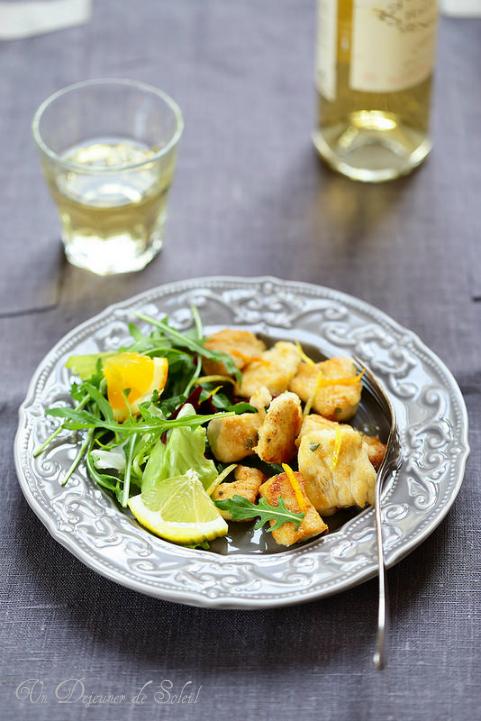 Escalopes de poulet sauté aux agrumes (orange et citron). Recette facile et rapide