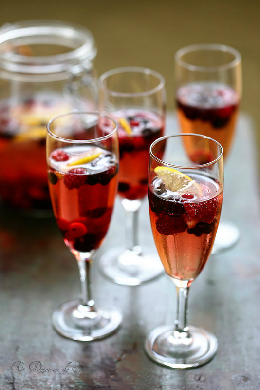 Cocktail champagne fruits rouges