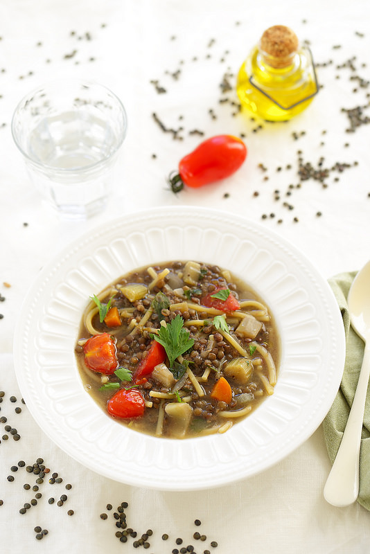 Soupe de lentilles et pâtes à l'italienne (pasta e lenticchie)