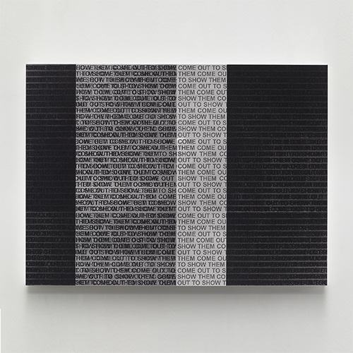 Glenn Ligon, Come Out Study #8, 2014, Silkscreen on canvas on panel, 35.69 x 48.75 inches, © Glenn Ligon; courtesy of the artist, Luhring Augustine, New York, Regen Projects, Los Angeles, and Thomas Dane Gallery, London