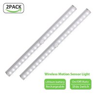 Derlson Wireless Under Cabinet Light , LED Night Light Bar [ 3 modes Auto/on/off ] ,Motion Sensor light for Closet, Cabinet , Stairs, Path, Garage --2 Pack ,White Light, Rechargeable