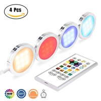 Pangtong Villa Under Cabinet Lighting - RGBW Led Lights for Home Kitchen Decorations with Remote - DIY Color Timing Function Puck Lights,Closet Lights,Silver 4-Pack