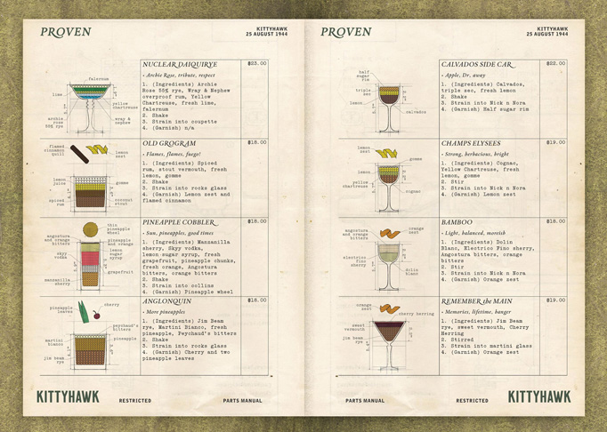 Kittyhawk Menu by Gemma Warriner