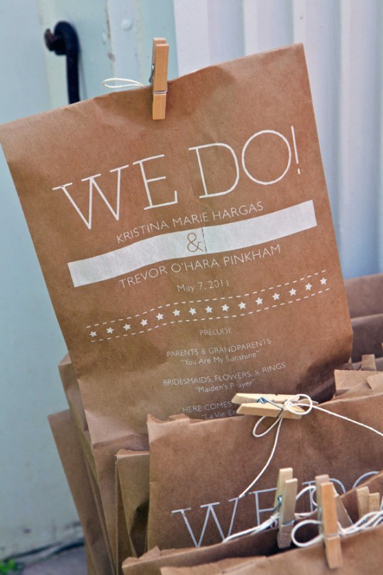 Lunch Sack Wedding Program via For Prit Only