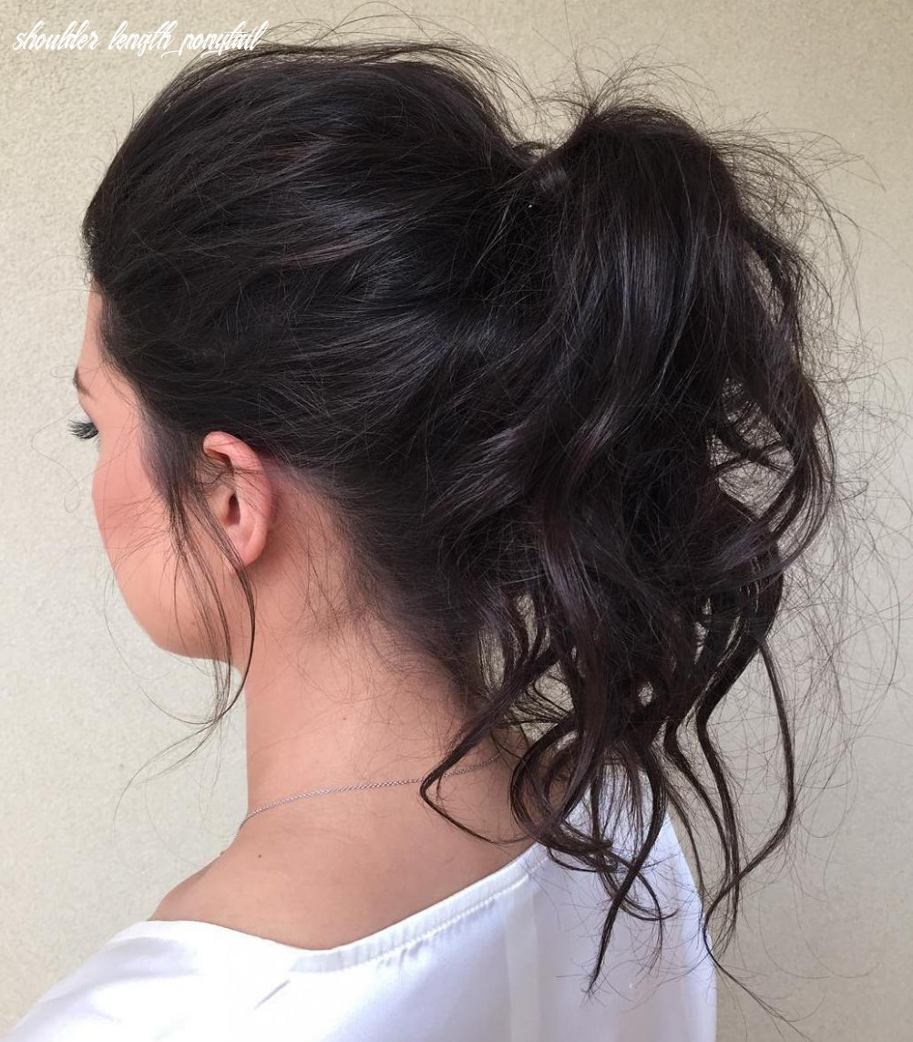 11 eye catching ways to style curly and wavy ponytails shoulder length ponytail