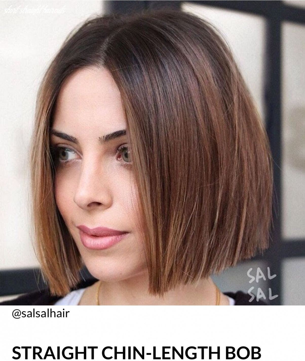 Brown highlights, bob, one legnth (with images)   straight bob