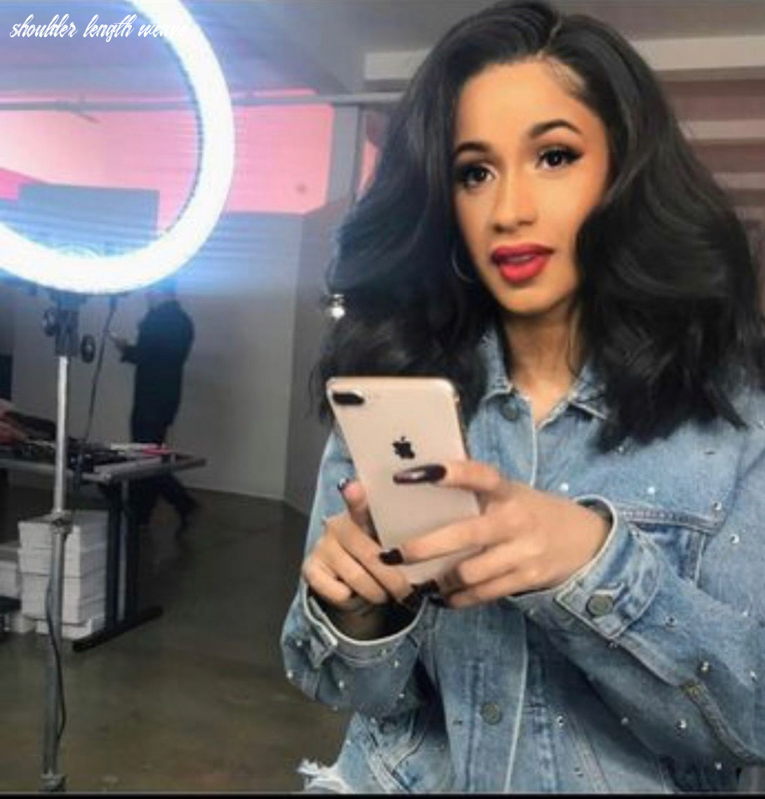 Cardi b, black sew in weave with closure shoulder length with