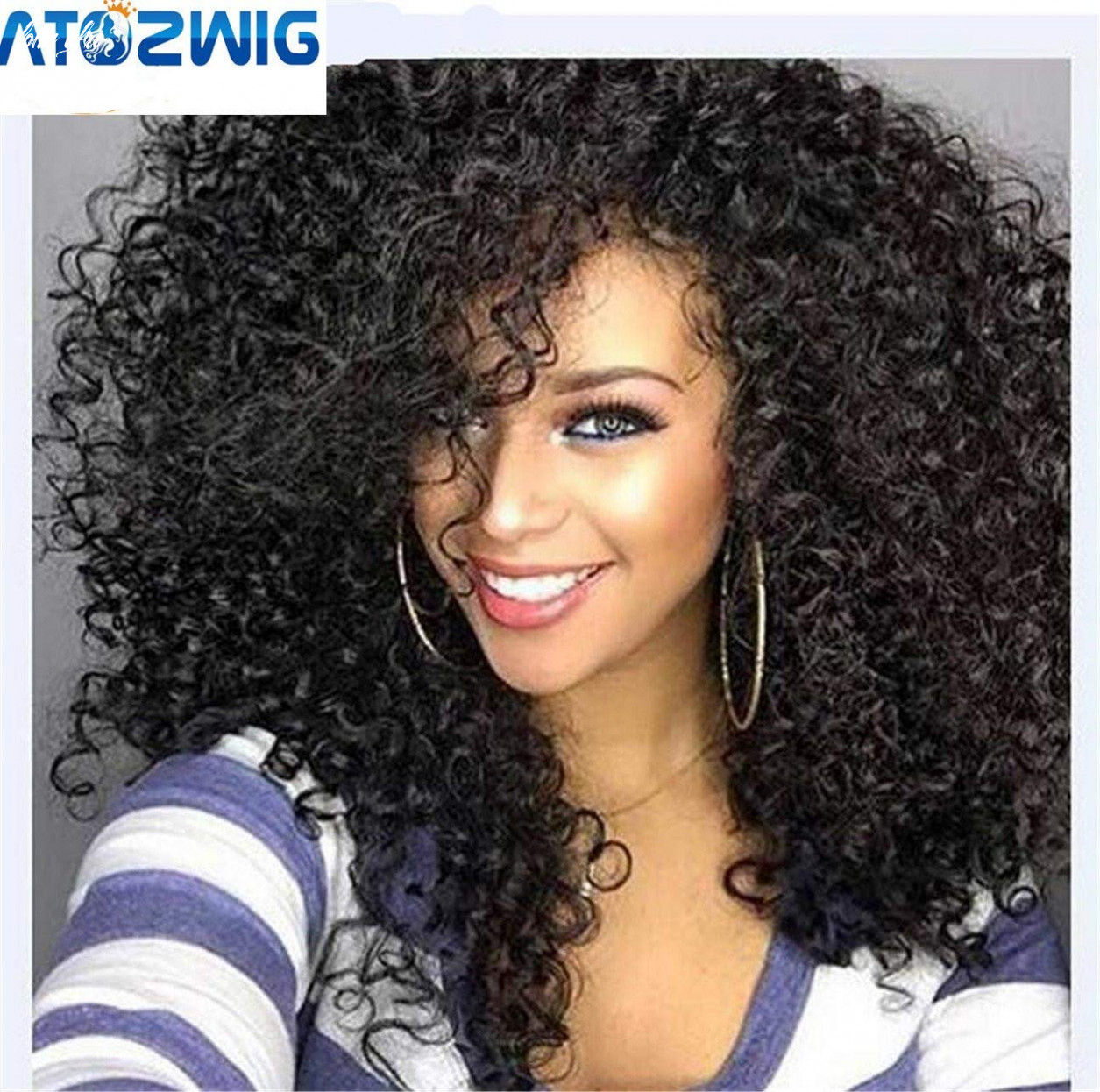 """Atozwig kinky curly afro wig 12"""" long kinky curly wigs for black women black hair wig african american synthetic cheap wigs for women long afro"""
