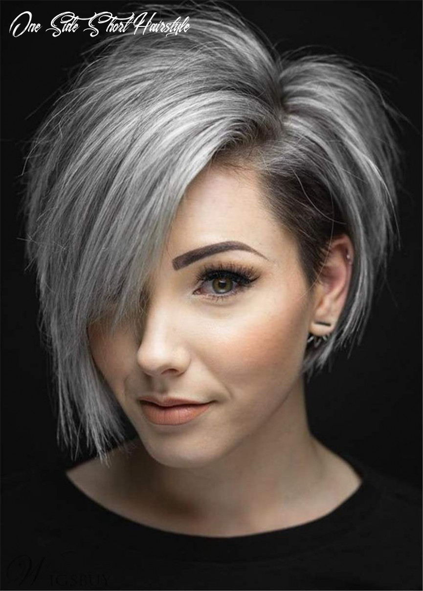 Flattering short cut oneside parted synthetic hair straight wig one side short hairstyle