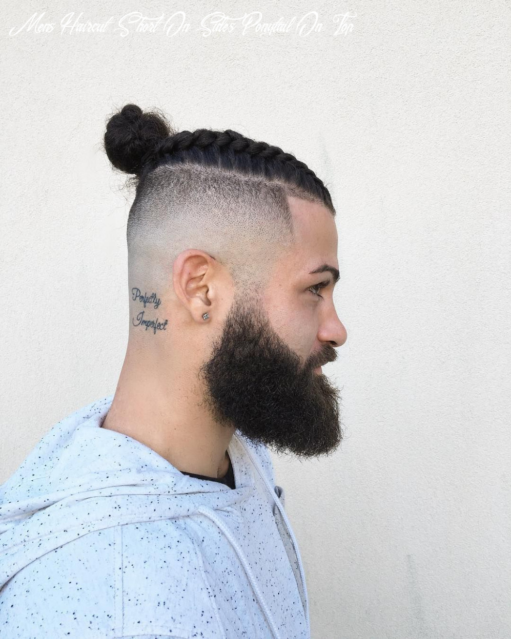 Pin on haircuts mens haircut short on sides ponytail on top