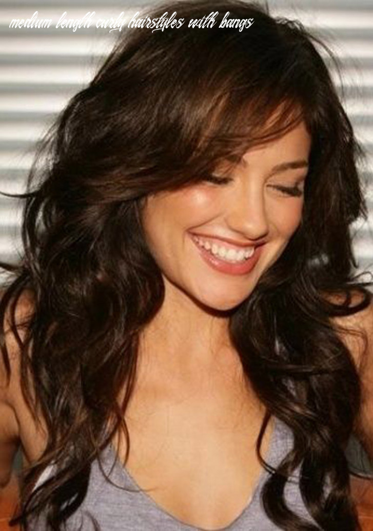 Shoulder length curly hairstyles with fringe layer bangs medium length curly hairstyles with bangs