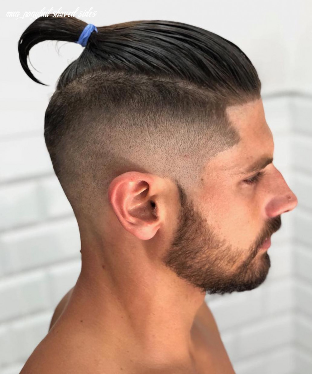 The top knot hairstyle visual guide for men (12 different styles) man ponytail shaved sides