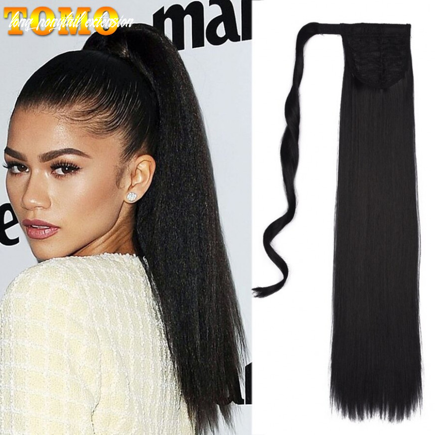 Tomo 11 long silkly straight synthetic ponytail extensions clip in pony tail natural hair extension heat resistant hair pieces long ponytail extension