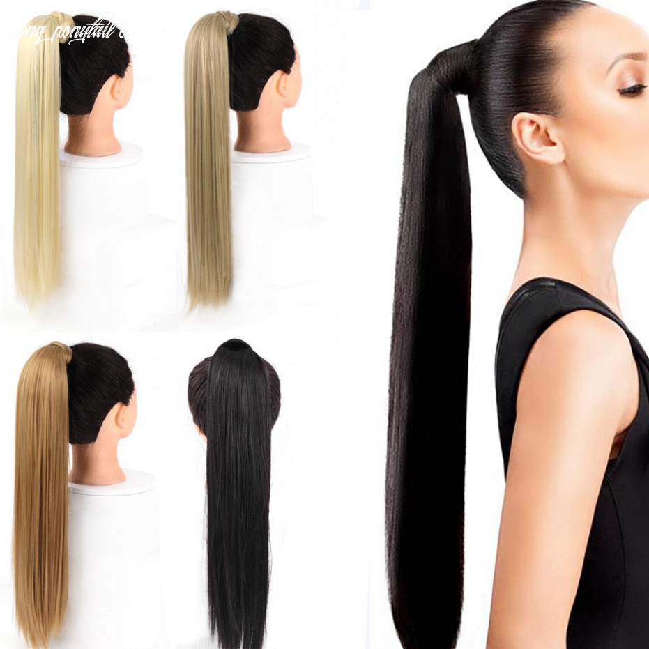 Us $11 11 119% off aosiwig long straight ponytail for women wrap around on ponytail extension heat resistant synthetic natural fake hairpiece synthetic
