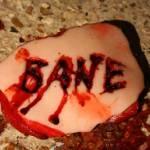 Bane logo cut into flesh